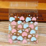Пакеты 10х10+3 см. прозрачные - со скотчем, Сердечки микс