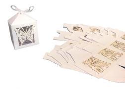 Коробка сборная резная 6х6х9см, бабочка